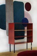 Bookcase Plum with brass shelf